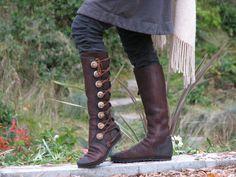 Bottes Hautes pour Femmes - Bottes style Renaissance - Moccasins faites sur Mesure - Moccasins en cuir de Bison Véritable