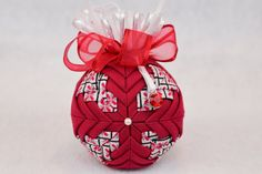 Quilted Birthstone Ornament - January Birthstone - Garnet colored ornament with a garnet birthstone charm Diy Quilted Christmas Ornaments, Quilted Fabric Ornaments, Beaded Ornaments, Ornament Crafts, Xmas Ornaments, Handmade Christmas, Christmas Crafts, Christmas Balls, Quilling Christmas