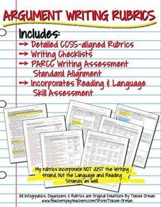 Argument Writing & Rubrics Common Core/PARCC aligned for Grades 9-10