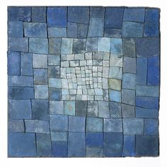 "Just like the idea of almost patchwork  ""Blue""  Ceramic Wall Art    Created by Elizabeth MacDonald"