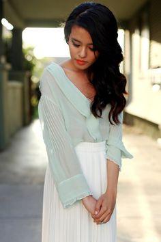 Alana Hale mint blouse + white skirt #LA