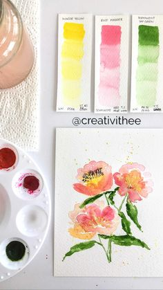 Watercolor Flowers Tutorial, Step By Step Watercolor, Flower Tutorial, Watercolor Art, Flower Illustrations, Card Envelopes, Watercolor Techniques, Simple Art, Journal Ideas