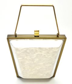 VINTAGE WHITE PEARL LUCITE BAKELITE BRASS N PURSE BAG **I bought for $2.99 and found that one is being sold on Ebay for 69.00.