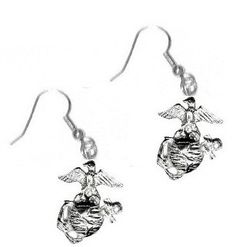 Marine Corps Sterling Silver Dangle Earrings