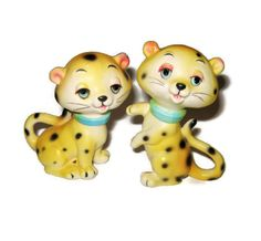 Vintage Leopard Yellow Kitty Cat Salt And Pepper Shakers An Lefton Napco Py Kitten Wild