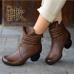 品牌高跟短靴粗跟真皮休闲女靴通勤百搭纯色手工里外全皮单靴春秋-淘宝网