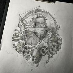 #sailingship #shiptattoo Design Tattoo, Tattoo Design Drawings, Tattoo Designs, Traditional Ship Tattoo, Hai Tattoos, Viking Art, Viking Tattoos, Amazing Drawings, Skull Art