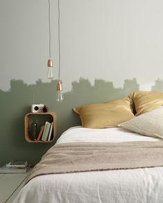 Catalogue Castorama : 10 inspirations à copier Bedroom Green, Home Bedroom, Bedroom Wall, Bedroom Decor, Bedroom Paint Design, Interior Inspiration, Room Inspiration, Room Colors, Home Interior Design
