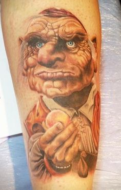 """Labyrinth Tattoo - Hoggle """"Oh don't act so smart. You don't even know what an oubliette is. Time Tattoos, Sleeve Tattoos, Tatoos, David Bowie Labyrinth, Labyrinth 1986, Labyrinth Tattoo, Prince Tattoos, Graffiti Tattoo, Sick Tattoo"""