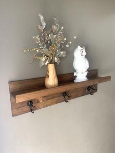 Entryway Hooks, Ledge Shelf, Stylish Coat, Dark Wood, Floating Shelves, Organize, Vanity, It Is Finished, Display
