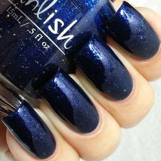 """""""Brand new baubles"""" is @pahlish contribution to January's @aboxindied this vibrant indigo has intense multicolored shimmer, silver and blue flakies. 2 thin coats plus topcoat. Just fabulous! This box can be purchased on Dec 26th from www.llarowe.com"""