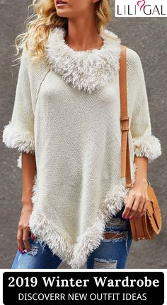 2019 fall sweaters wardrobe @ your bff to celebrate the Christmas party~ Liligal cute holiday sweaters, fall winter outfit ideas, shop now~ Fall Sweaters, Casual Sweaters, Sweaters For Women, Holiday Sweaters, Trendy Tops For Women, Stylish Tops, Bff, Fall Winter Outfits, Tricot Facile