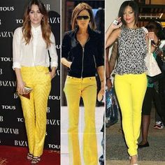 I need to get some yellow pants! Yellow Jeans Outfit, Yellow Clothes, Yellow Pants, Classy Outfits, Stylish Outfits, Cute Outfits, Summer Outfits, Look Fashion, Fashion Outfits
