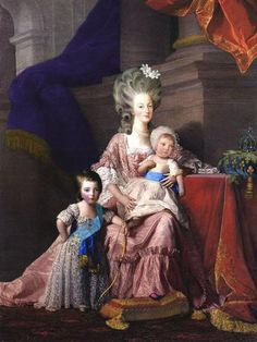 Marie Antoinette with her two sons, Louis-Joseph and Louis-Charles.