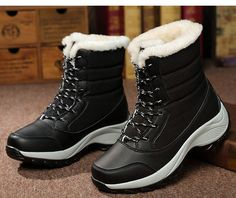 Women's Fashion Snow Boots Winter Warm Boots Shoes Thick Bottom Platform Waterproof Ankle Boots for Women Winter Fashion Boots, Winter Snow Boots, Winter Shoes, Sexy Boots, Black Boots, Mid Calf Boots, Ankle Boots, Women's Boots, Cowgirl Boots