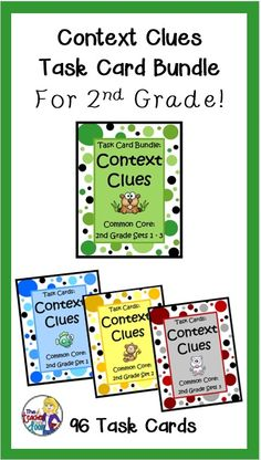 Great concentrated context clues practice for 2nd graders! These three sets (96 total) Context Clues Task Cards will help strengthen your student's reading skills! $