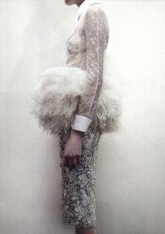 White lace shirt, fluffy feather textures & bead embroidered skirt; romantic fashion details // Giambattista Valli