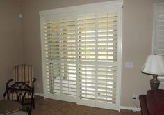 Patio doors look beautiful inside and outside your home and bring natural light to a room. Patio door plantation shutters can also keep. Sliding Door Shutters, Patio Door Shutters, Exterior Patio Doors, Sliding Door Window Treatments, Exterior Doors With Glass, Sliding Door Hardware, Sliding Glass Door, Window Coverings, Glass Doors