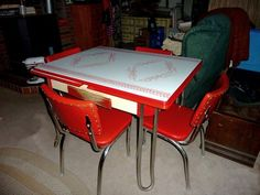 vintage metal kitchen tables and chairs   Retro 1950′s Vintage Chrome, Kitchen Table Set, 4 Red Vinyl Chairs ...