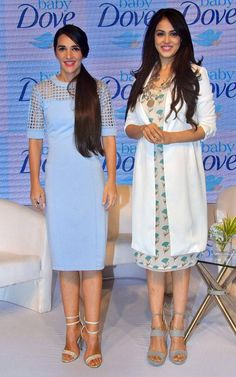 Genelia D'Souza Deshmukh with Tara Sharma at the launch of Swatch's latest collection. Bollywood Stars, Bollywood Fashion, Genelia D'souza, Radhika Apte, Classic Dresses, Post Baby Body, Easy Wear, Celebs, Celebrities