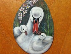 Russian-UNIQUE-hand-painted-WHITE-SWAN-Baby-SWANS-BIRDS-stone-pendant-signed
