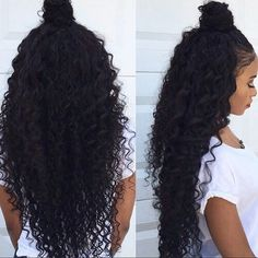 Natural curly hair, half up half down with a top knot