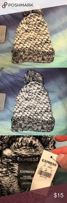 NWT Winter Hat with Pom Pom Brand new never worn, black and white Express Accessories Hats