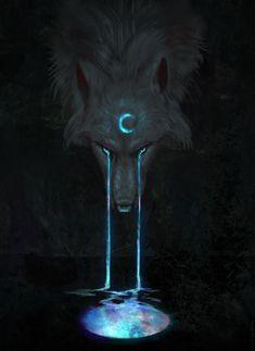 Aurora Moon Art Print by JadeMerien - X-Small Dark Fantasy Art, Fantasy Wolf, Artwork Lobo, Wolf Artwork, Mystical Animals, Mythical Creatures Art, Yuumei Art, Galaxy Wolf, Werewolf Art