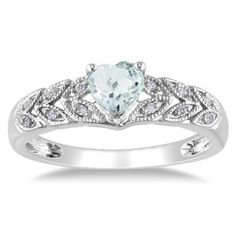 Sterling Silver Aquamarine and Diamond Heart Ring (0.05 cttw, G-H Color, I2-I3 Clarity)