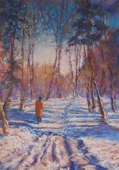 "Daily Paintworks - ""Winter Walk"" - Original Fine Art for Sale - © Ruth Mann"