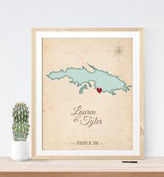 Wedding Map Guest Book Alternative print vintage by MDBWeddings