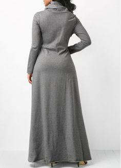 Grey Long Sleeve Cowl Neck Maxi Dress | Rosewe.com - USD $31.88