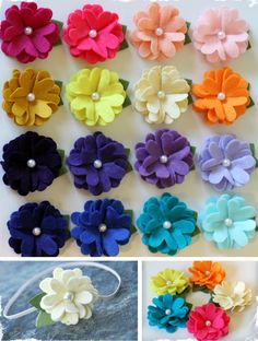 Set of 3 Beautiful Felt Flowers - You Choose Hardware! Choose From 19 Beautiful Colors! Felt Flowers, Diy Flowers, Fabric Flowers, Flower Clips, Flower App, Diy Sewing Projects, Sewing Crafts, Craft Projects, Diy And Crafts