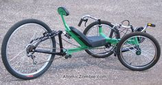 Atomic Zombie: Street Fox. I bought this plan because I have an old Trek Y5 that I want to convert to a trike. Features include suspension and adjustable bottom bracket.