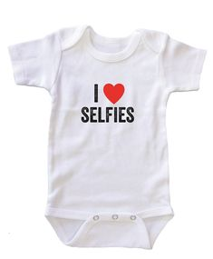 """""""""""I Heart Selfies"""""""" Baby Onesie Bodysuit"""