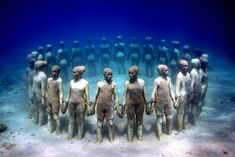 Underwater Museum in Mexico. The museum is 400ft below sea level near the Mexican city, Cancun . // Wow, I need to learn how to dive!!