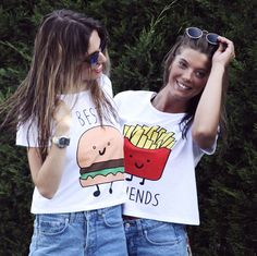 Camiseta Blanca con dibujo, Best-Friends – Denim Hall
