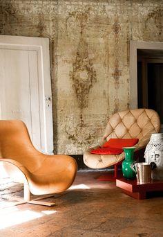 Wall and Deco Borgia modern vinyl tapéta Wallpaper Wall, Distressed Walls, Contemporary Wallpaper, Wall Finishes, Interior Decorating, Interior Design, Wall Treatments, Textured Walls, Wall Murals