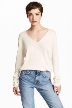 Fine-knit jumper - Natural white - Ladies | H&M GB 1