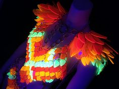 Glowing Feather Costume - Shoulders Halter Loincloth Combo - Black Light UV LED…