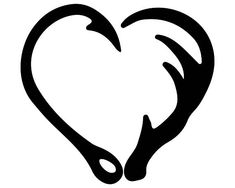 INSTANT Download Fish Hook and Antler Heart Silhouette