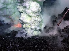 Blast: A plume of sulphur and molten lava erupts from the West Mata Volcano nearly 4,000 feet beneath the Pacific Ocean, south of Samoa