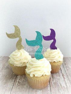 Mermaid Glitter Cupcake Toppers, Little Mermaid Birthday, Under the Sea Party, Birthday Party Decorations, Mermaid Party Supplies