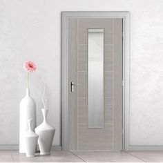JB Kind Doors - Laminates Lava grey internal door with clear safety glass