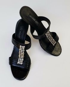 dad2bea20 Brighton Shoes Heels Black Sandals Silver Plated Hardware Slip-On Womens  Size