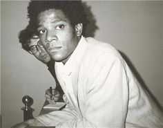 Jean-Michel Basquiat & Eric Fischl. Photo taken by Andy Warhol (May 29, 1984).