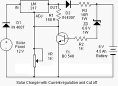 Here is a solar charger circuit is used to charge lead acid batteries or Ni-Cd with solar power. Circuit harvests solar energy to charge a. Battery Charger Circuit, Lead Acid Battery Charger, Solar Charger, Electrical Engineering Quotes, Electronic Schematics, Electric Circuit, Circuit Projects, Best Solar Panels, Circuit Diagram