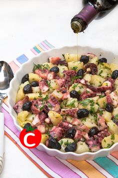 Insalata cinsalata con padi polpo e patate Fish Recipes, Seafood Recipes, Cooking Recipes, Healthy Recipes, I Love Food, Good Food, Yummy Food, Antipasto, Pizza Und Pasta