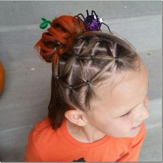 Elastic spider web and pumpkin bun hairstyle. This is so fun for Halloween or maybe even crazy hair day! Ballet Hairstyles, Bun Hairstyles, Amber Hair, Halloween Themed Food, Red Ribbon Week, Holiday Hairstyles, Halloween Hairstyles, Crazy Hair Days, Christian Wife