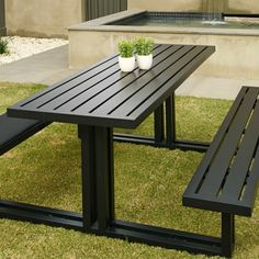 The stunning Melton Craft Picnic table offers a cast aluminum quality with comfort. Made sturdy it will compliment your outdoor entertaining area for years Welded Furniture, Pallet Garden Furniture, Outdoor Furniture Chairs, Steel Furniture, Outdoor Restaurant Patio, Outdoor Picnic Tables, Restaurant Tables, Outdoor Furniture Inspiration, Unique Sofas